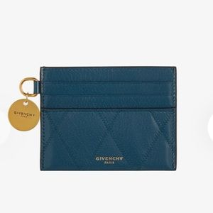Givenchy GV3 Card Holder in Quilted Leather Blue